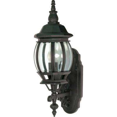1-Light - 20 in. Wall Lantern with Clear Beveled Glass Textured Black