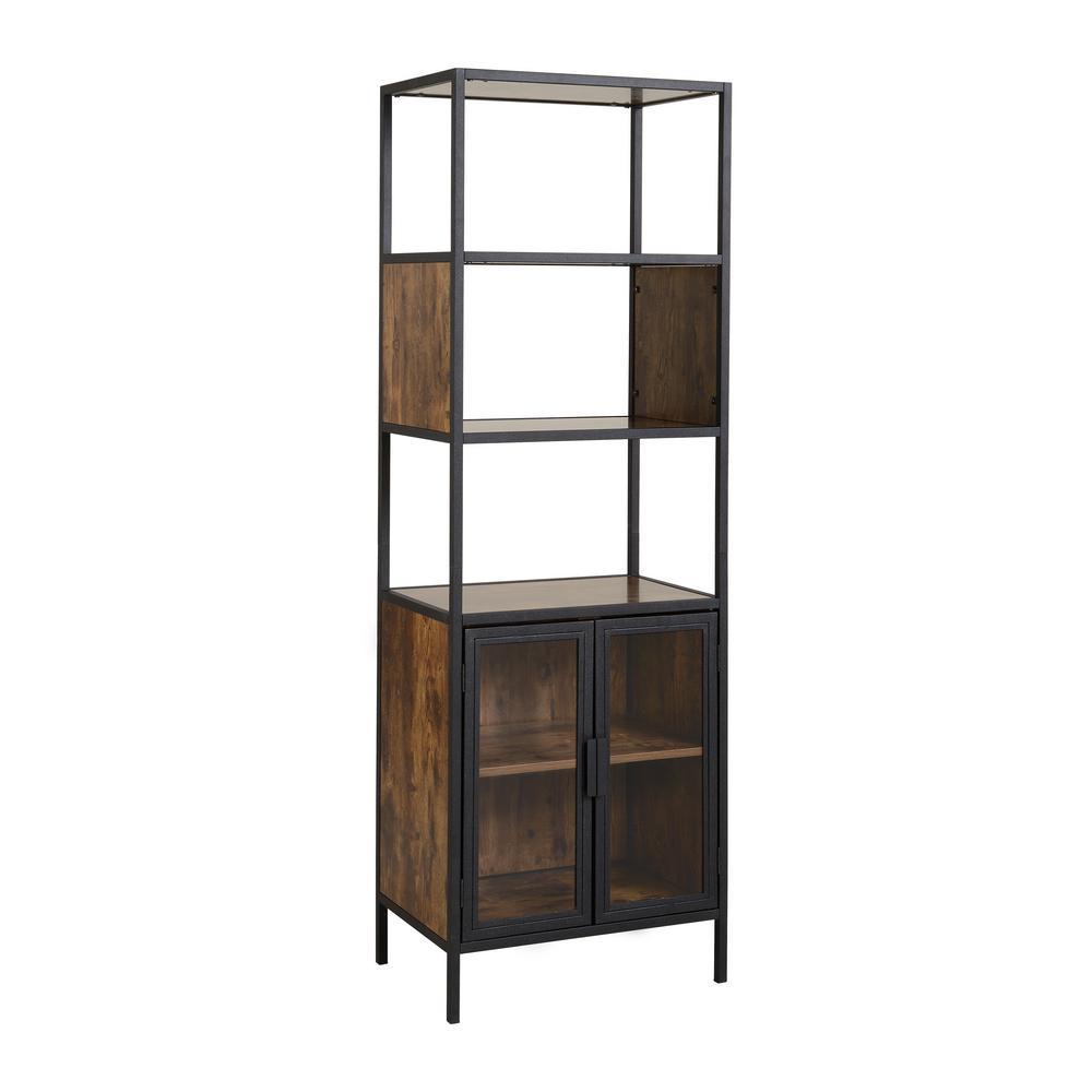 Hamilton Antique Wood Metal And Media Storage With Gl Doors