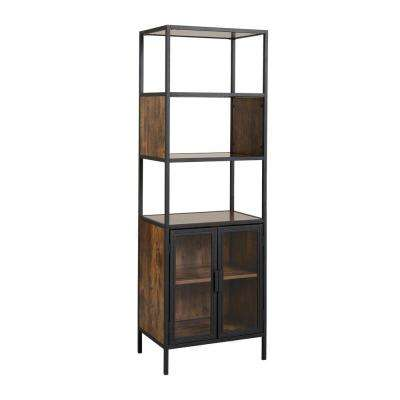 Hamilton Antique Wood Metal and Wood Media Storage with Glass Doors