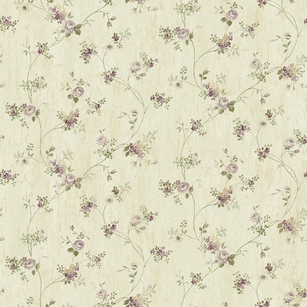 Virginia Grey Floral Vine Wallpaper