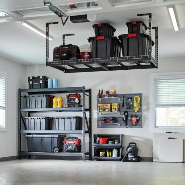 Husky 42 In H X 96 In W X 32 In D Adjustable Height Ceiling Mount Garage Rack Acr3296b P The Home Depot