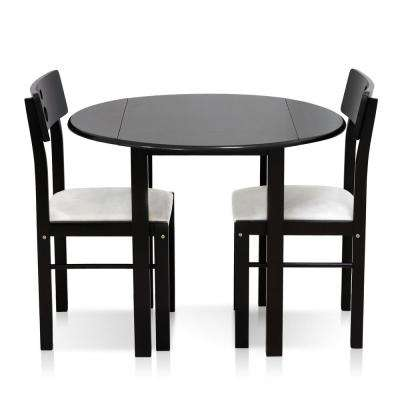 Cos-Drop Leaf 3-Piece Espresso Solid Wood Dining Set