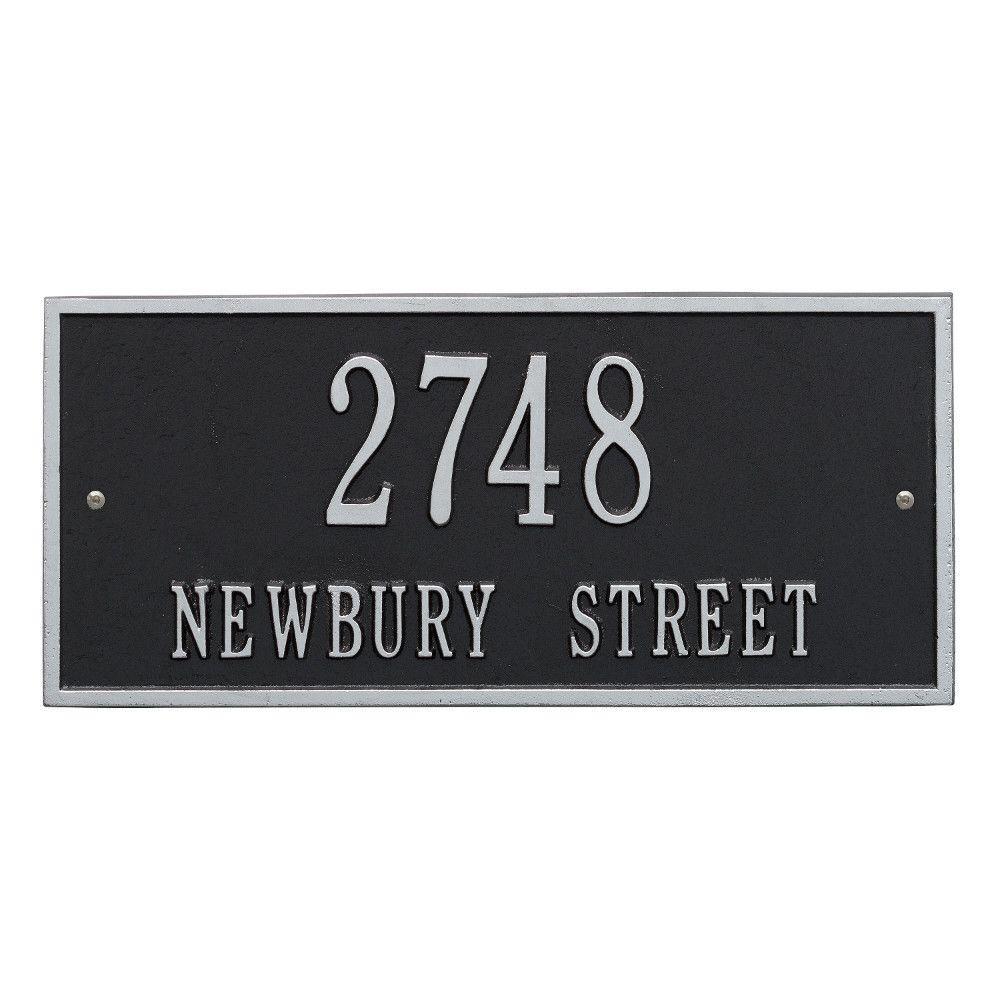 Hartford Rectangular Black/Silver Standard Wall 2-Line Address Plaque