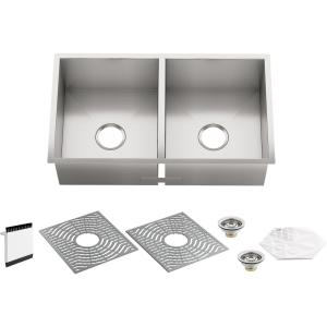Ludington Undermount Stainless Steel 32 in. Double Bowl Kitchen Sink Kit with Included Accessories