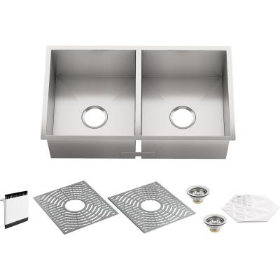 KOHLER Ludington Undermount Stainless Steel 32 in. Double Bowl Kitchen Sink Kit with Included Accessories