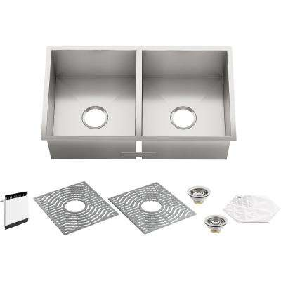 Stainless Steel STERLING 11406-NA McAllister 32-inch by 18-inch Under-mount Double Equal Bowl Kitchen Sink