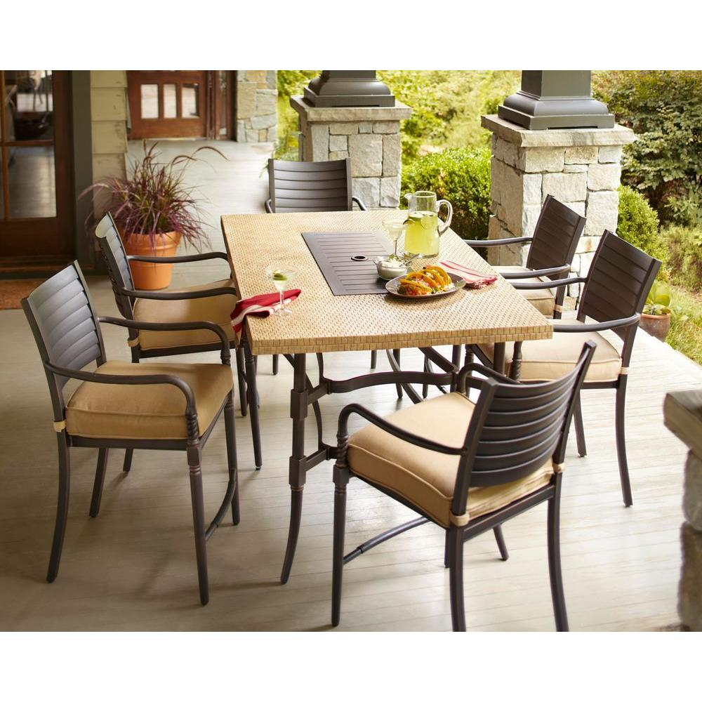 Hampton Bay Madison 7-Piece Patio High Dining Set with Textured Golden Wheat Cushions-DISCONTINUED