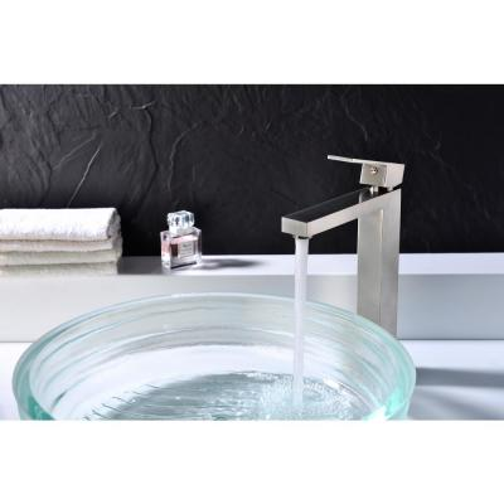 Enti Series Single Hole Single-Handle Vessel Bathroom Faucet in Brushed Nickel