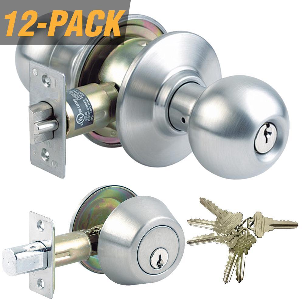 Stainless Steel Grade 3 Combo Lock Set with Entry Door Knob and Deadbolt, 72 SC1 Keys Total, (12-Pack, Keyed Alike)