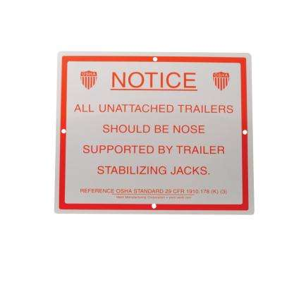 Stabilizing Trailer Instruction Sign