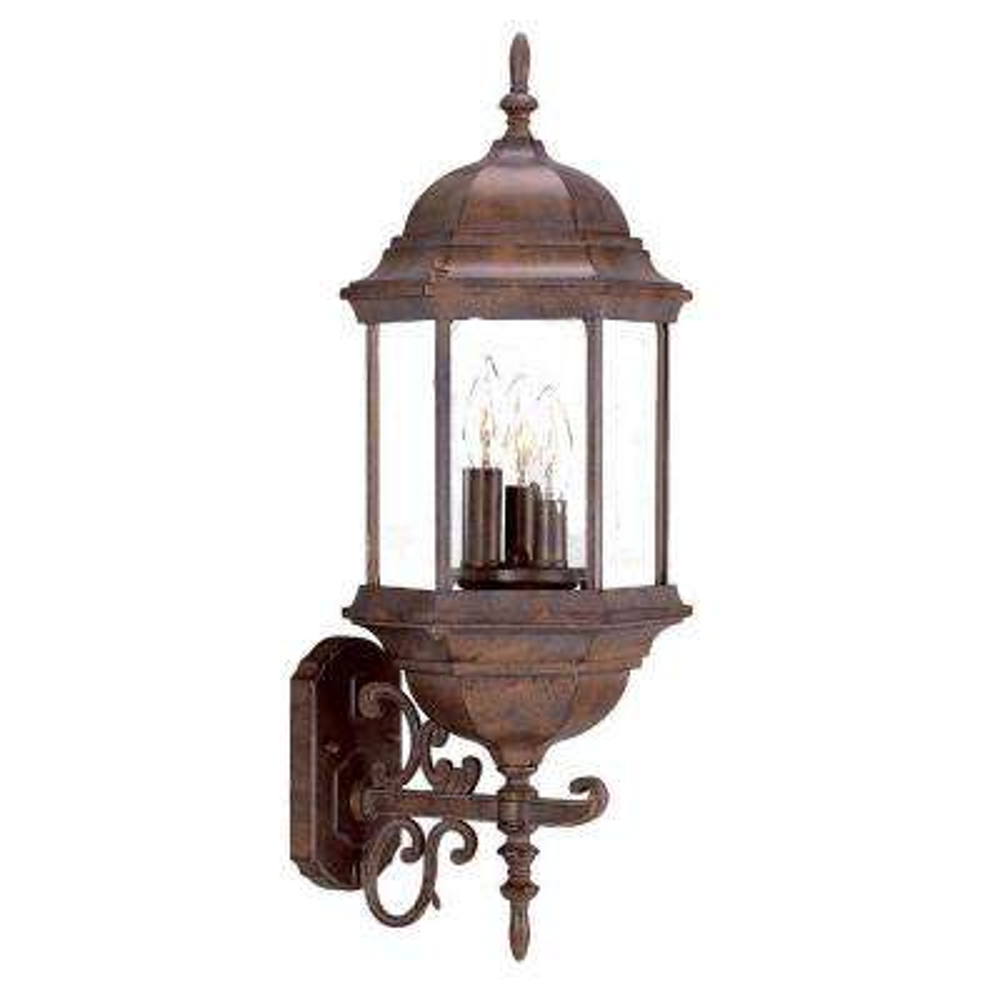 Madison Collection 3-Light Burled Walnut Outdoor Wall-Mount Light Fixture