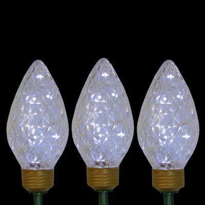 Lighted LED Jumbo C9 Bulb Christmas Pathway Marker Lawn Stakes in Clear Lights (Set of 3)