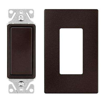 15 Amp Single Pole Decorator Switch with Screwless Wallplate, Oil Rubbed Bronze