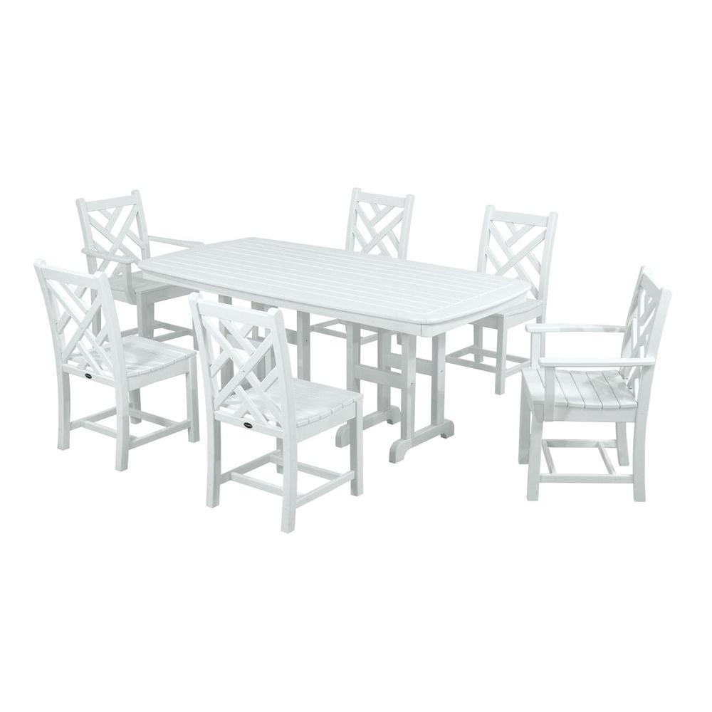 Beau POLYWOOD Chippendale White 7 Piece Plastic Outdoor Patio Dining Set