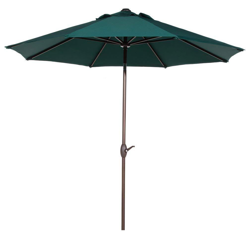 9 ft. Outdoor Market Table Umbrella with Auto Tilt and Crank Sunbrella Patio Umbrella in Dark Green