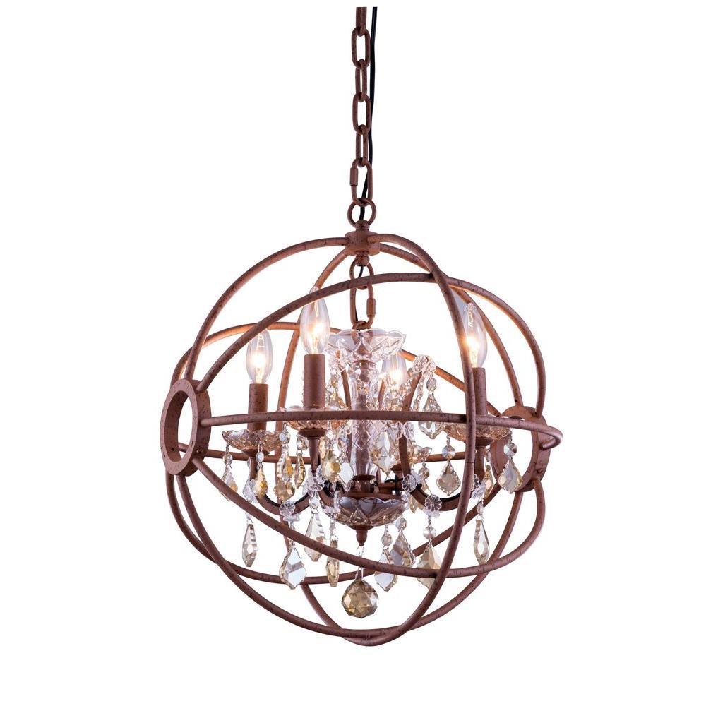 Geneva 4-Light Rustic Intent Chandelier with Golden Teak Smoky Crystal
