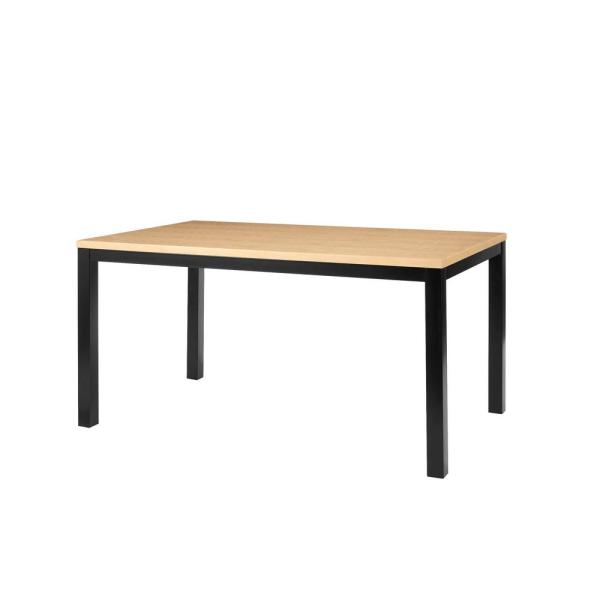 Donnelly Black Metal Rectangular Dining Table for 6 with Natural Finish Top (60 in. L x 30 in. H)