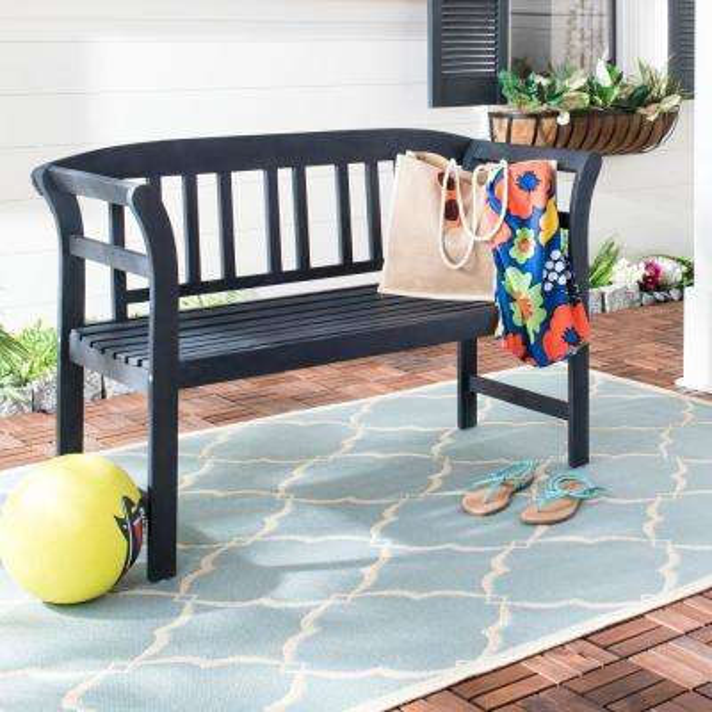 Porterville 49.2 in. 2-Seat Dark Slate Gray Wood Outdoor Bench