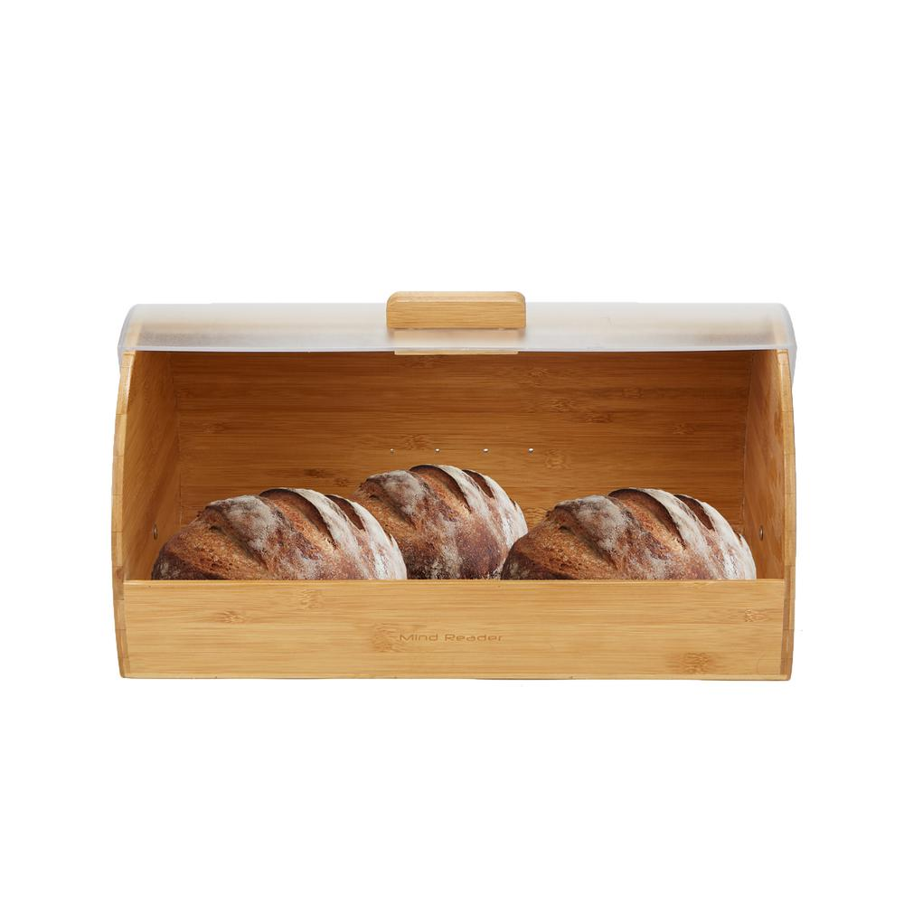 Brown Bamboo Bread Box Container Holder with Rolltop Plastic Cover Food