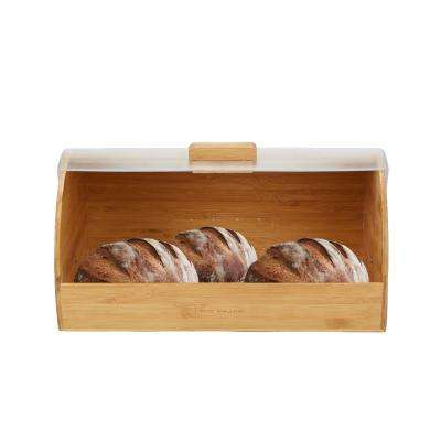 Brown Bamboo Bread Box Container Holder with Rolltop Plastic Cover Food Storage Bin, Brown