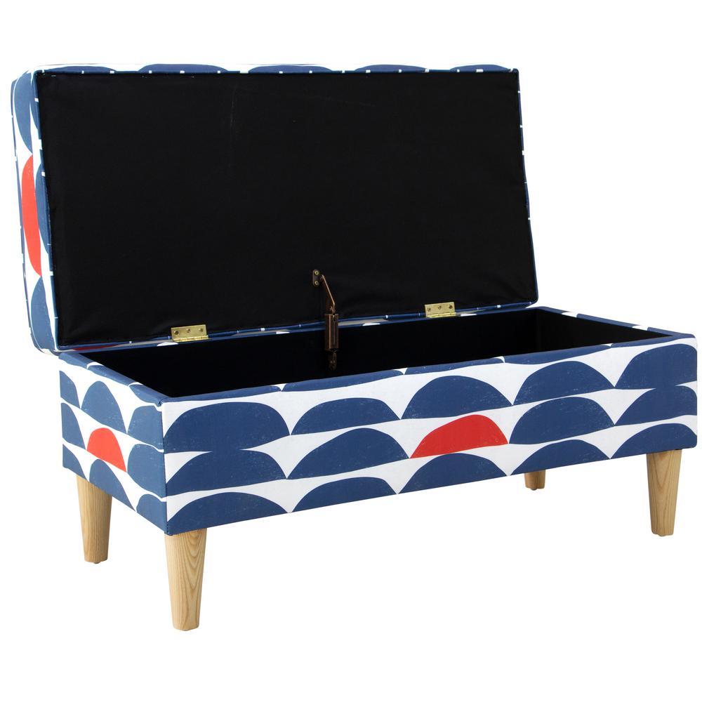 Pleasing Skyline Furniture Blair Halfmoon Navy Red Storage Bench Spiritservingveterans Wood Chair Design Ideas Spiritservingveteransorg