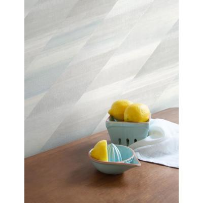 Rainbow Diagonals Daydream Gray and Blue Oasis Faux Wallpaper