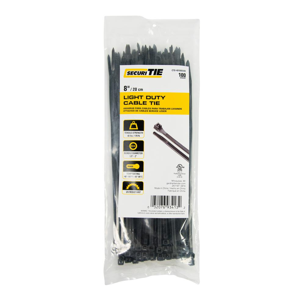 8937750da61c Gardner Bender. 8 in. Light Duty Cable Tie, 40 lb. Tensile, UV Black,  100-Pack (Case of 10)