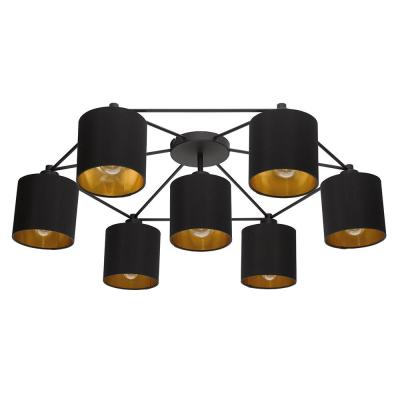 Staiti 7-Light Black Exterior and Gold Interior Shades Celling Light