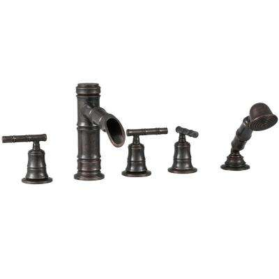 Bamboo 3-Handle Roman Tub Faucet with Hand Shower in Heritage Bronze