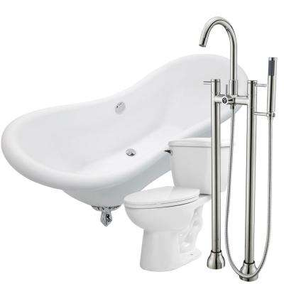 Aegis 68.75 in. Acrylic Clawfoot Non-Whirlpool Bathtub in White with Sol Faucet and Kame 1.28 GPF Toilet