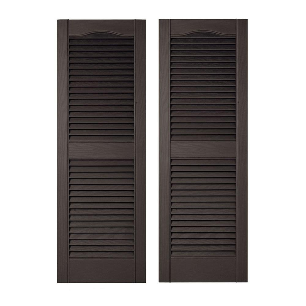 LOUVERED VINYL EXTERIOR SHUTTERS Outdoor Window Decor Pair