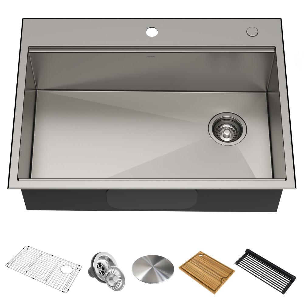 KRAUS Kore Workstation Drop-In Stainless Steel 30 in. Single Bowl Kitchen Sink