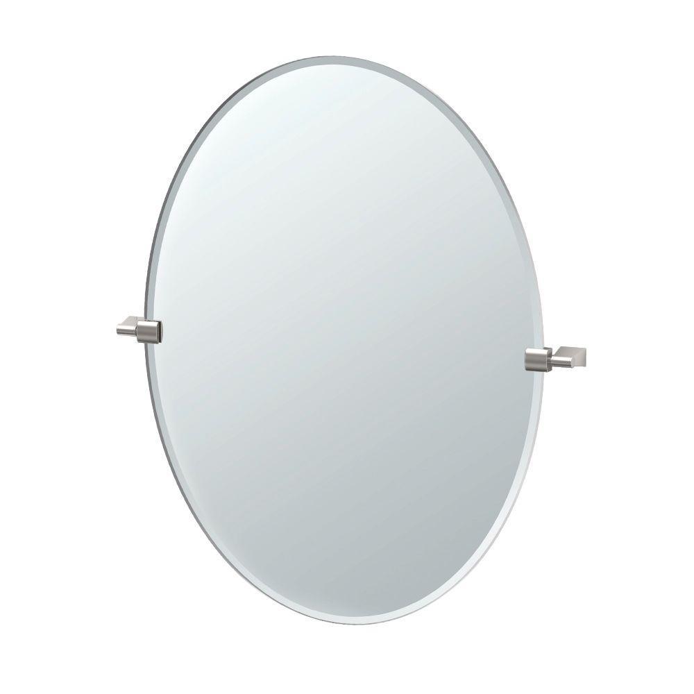 Bleu 28 in. x 32 in. Frameless Single Large Oval Mirror in Satin Nickel