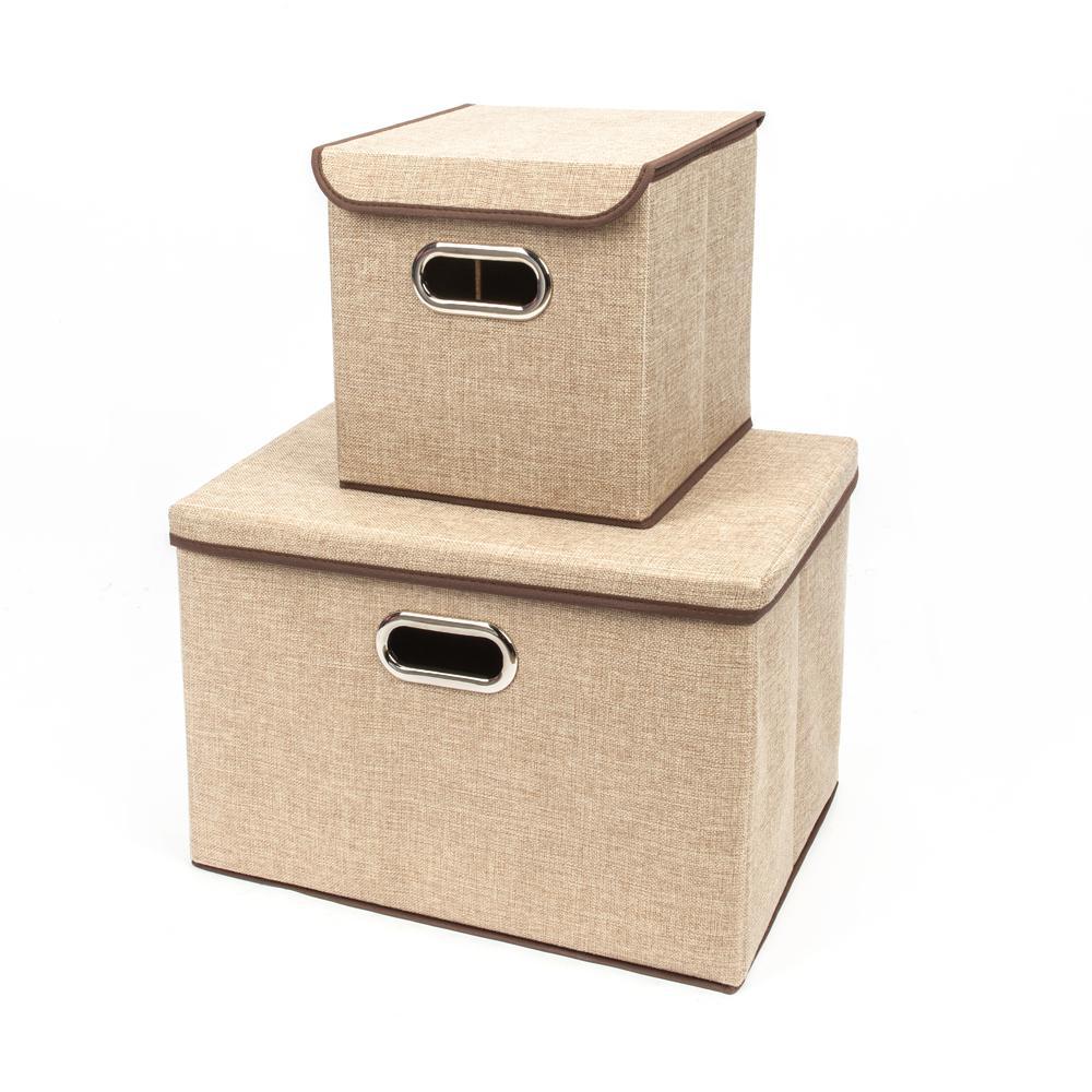 Khaki Fabric Fashion Elegant Cloth Art Storage with Boxes (2-Piece)