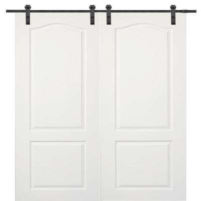 72 in. x 80 in. Primed Princeton Smooth Surface Solid Core Double Door with Barn Door Hardware Kit