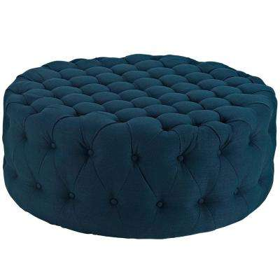 Azure Amour Upholstered Fabric Ottoman