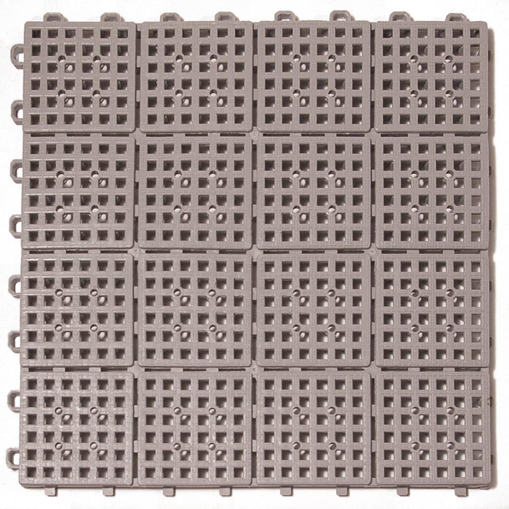 Patio Non-Slip 11.5 in. x 11.5 in. PVC Interlocking Outdoor Deck Tile in Gray (Case of 30)