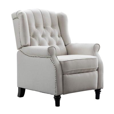 Beige Elizabeth Arm Chair Recliner with Nailhead Trim and Padded Seat Soft Tufted Push Back