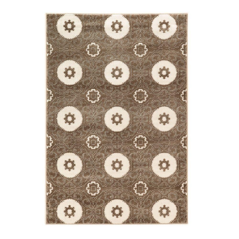Linon Home Decor Prisma Karma Brown and White 5 ft. 3 in. x 7 ft. 6 in. Indoor Area Rug