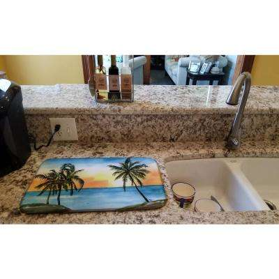 14 in. x 21 in. Multicolor Palm Tree Dish Drying Mat