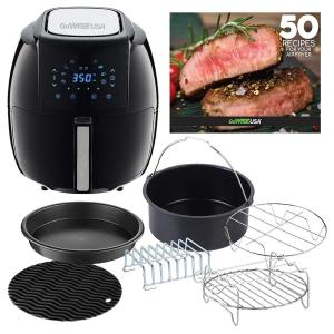 8-in-1 5.8 Qt. Black Air Fryer with 6-Piece Accessory Set and 50-Recipes Book