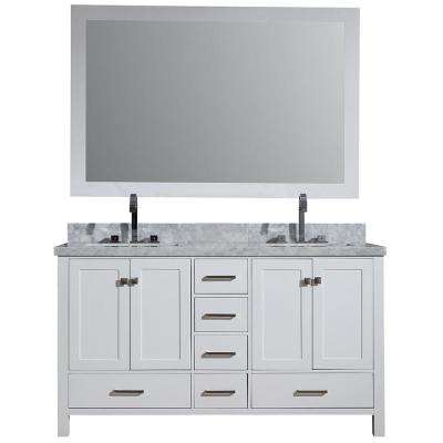 Cambridge 61 in. Vanity in Carrara with Marble Vanity Top in White with White Basin and Mirror