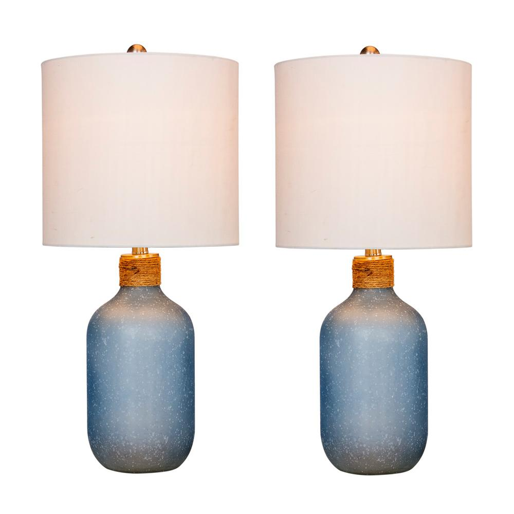 Fangio Lighting 26 in. Frosted Blue Island Jug Glass Table Lamps