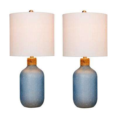 26 in. Frosted Blue Island Jug Glass Table Lamps