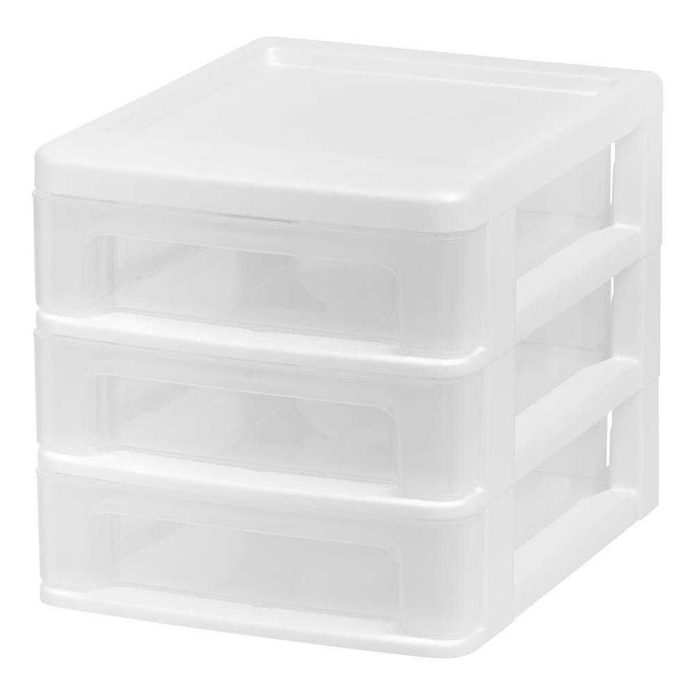 Iris 3 Drawer Desktop Organizer In White 4 Pack