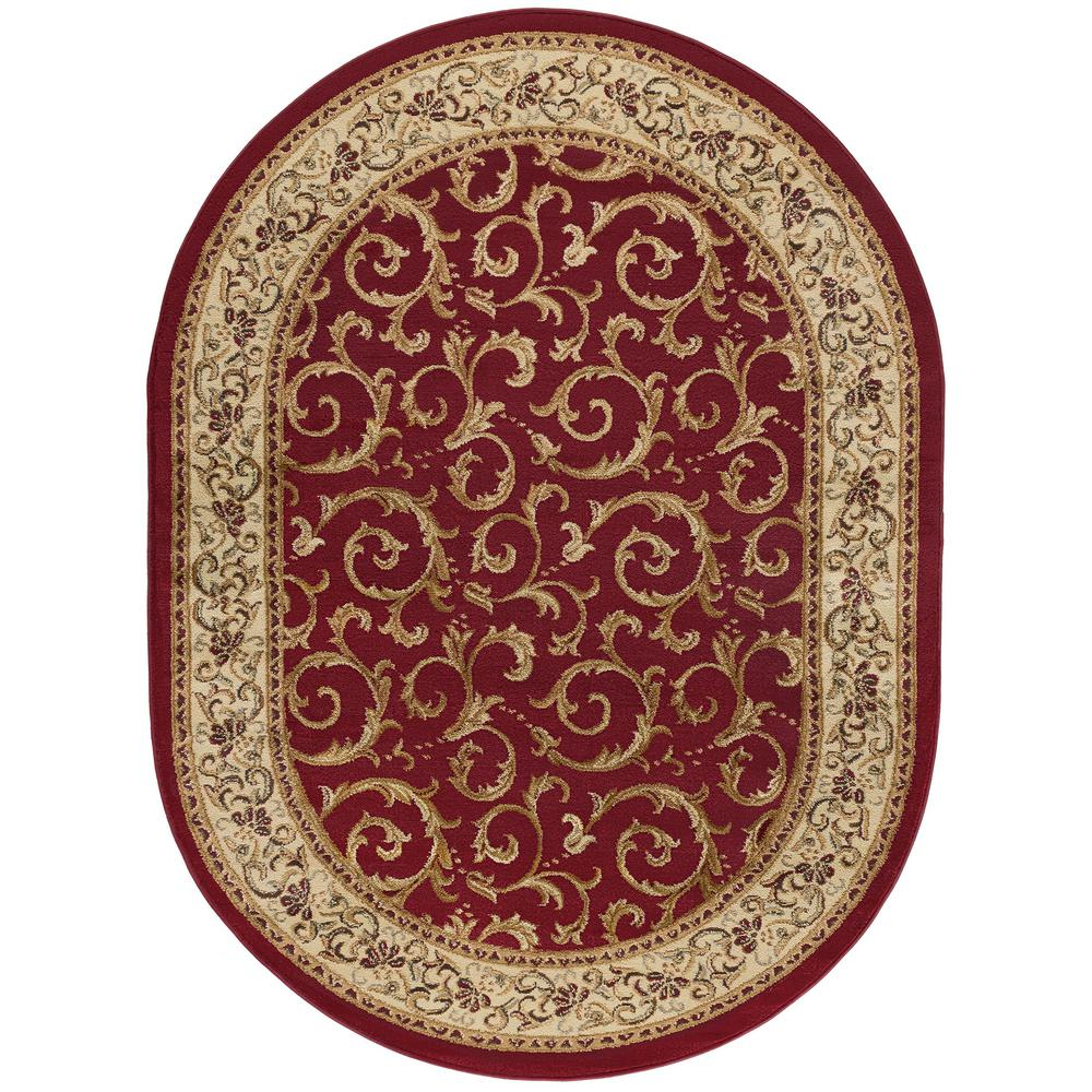 Tayse Rugs Elegance Red 5 Ft X 7 Ft Oval Indoor Area Rug