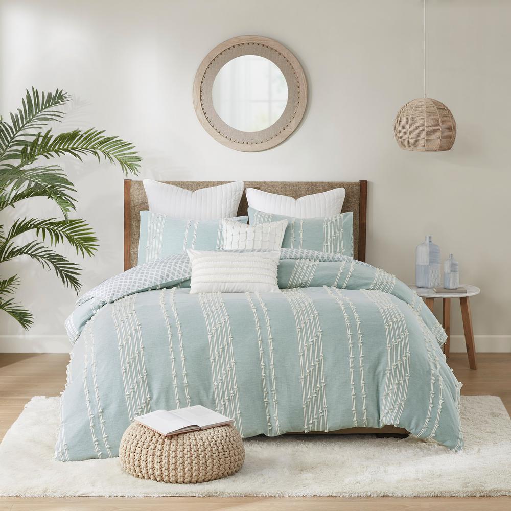 Kara 3-Piece Aqua King/Cal King Cotton Jacquard Comforter Mini Set