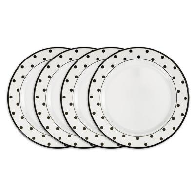 Moonbeam 4-Piece Modern Black Dots Melamine Outdoor Dinnerware Set (Service for 4)