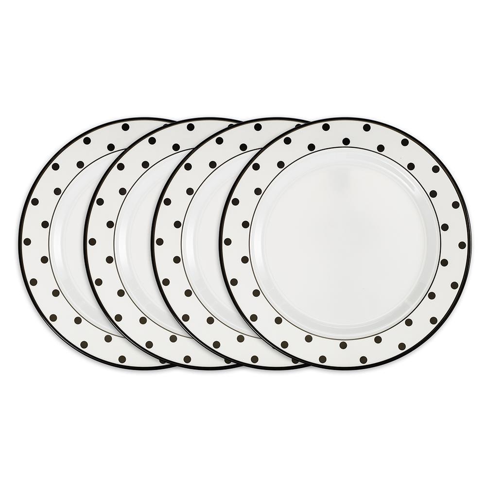 Moonbeam 4-Piece Black Melamine 10.5 in. Dots Dinner Plate Set