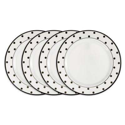 Moonbeam 4-Piece Black Melamine 10.5 in. Dots Dinner Plate Set
